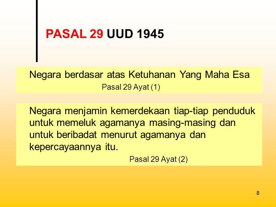 PASAL 29 UUD 1945 Negara berdasar atas Ketuhanan Yang Maha Esa Pasal 29 Ayat (1)