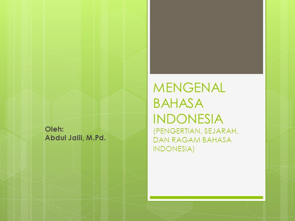 MENGENAL BAHASA INDONESIA (PENGERTIAN, SEJARAH, DAN RAGAM BAHASA INDONESIA)