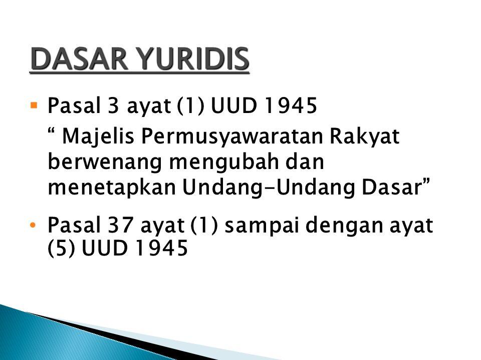 DASAR YURIDIS Pasal 3 ayat (1) UUD 1945