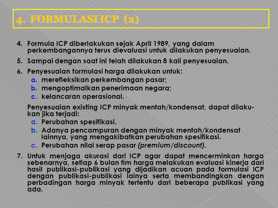4. FORMULASI ICP (2) 4. Formula ICP diberlakukan sejak April 1989, yang dalam perkembangannya terus dievaluasi untuk dilakukan penyesuaian.