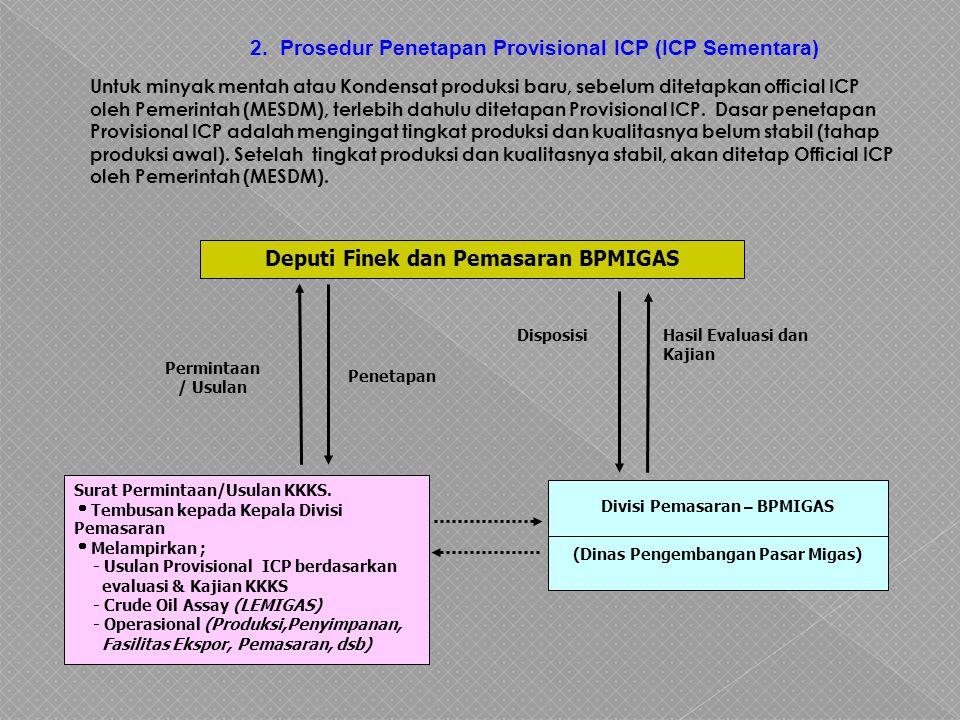 Deputi Finek dan Pemasaran BPMIGAS (Dinas Pengembangan Pasar Migas)
