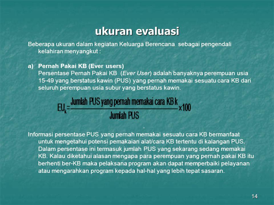 ukuran evaluasi Beberapa ukuran dalam kegiatan Keluarga Berencana sebagai pengendali kelahiran menyangkut :