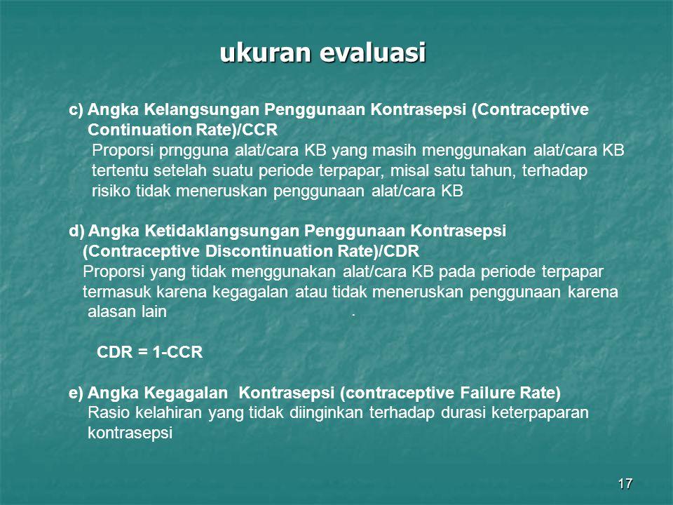 ukuran evaluasi c) Angka Kelangsungan Penggunaan Kontrasepsi (Contraceptive.