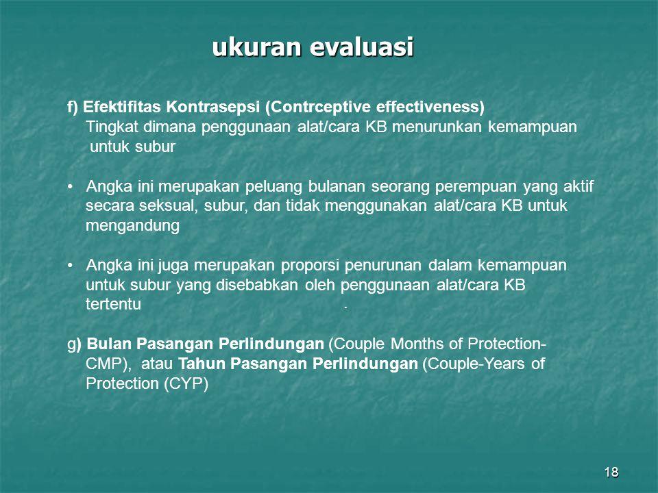 ukuran evaluasi f) Efektifitas Kontrasepsi (Contrceptive effectiveness) Tingkat dimana penggunaan alat/cara KB menurunkan kemampuan.