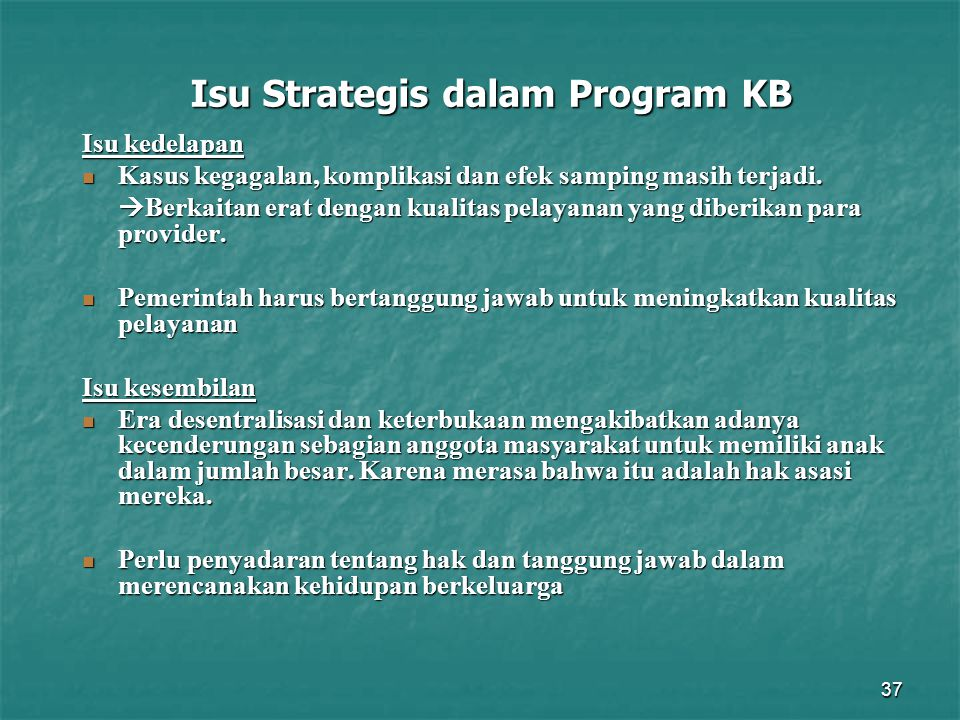 Isu Strategis dalam Program KB