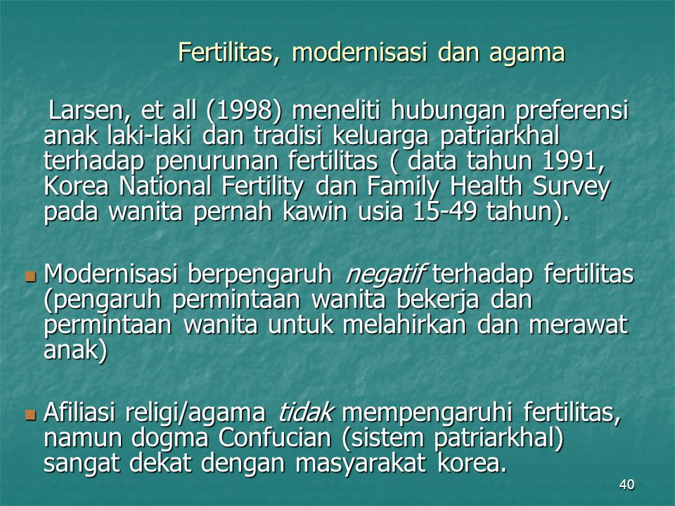 Fertilitas, modernisasi dan agama
