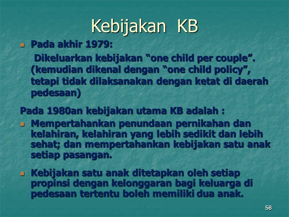 Kebijakan KB Pada akhir 1979: