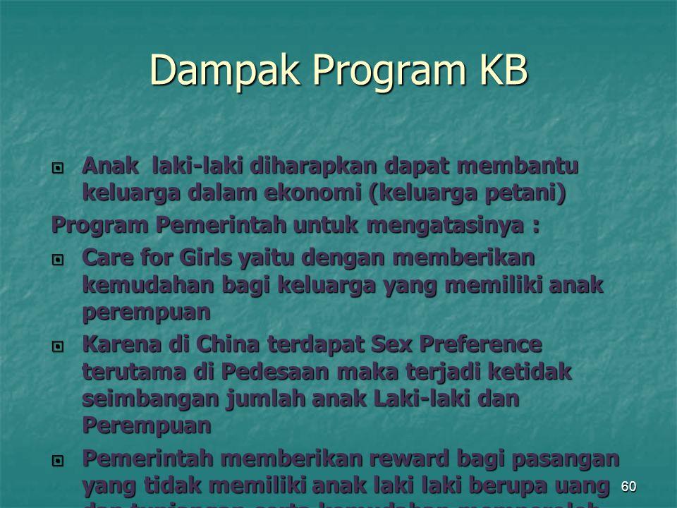 Dampak Program KB Anak laki-laki diharapkan dapat membantu keluarga dalam ekonomi (keluarga petani)