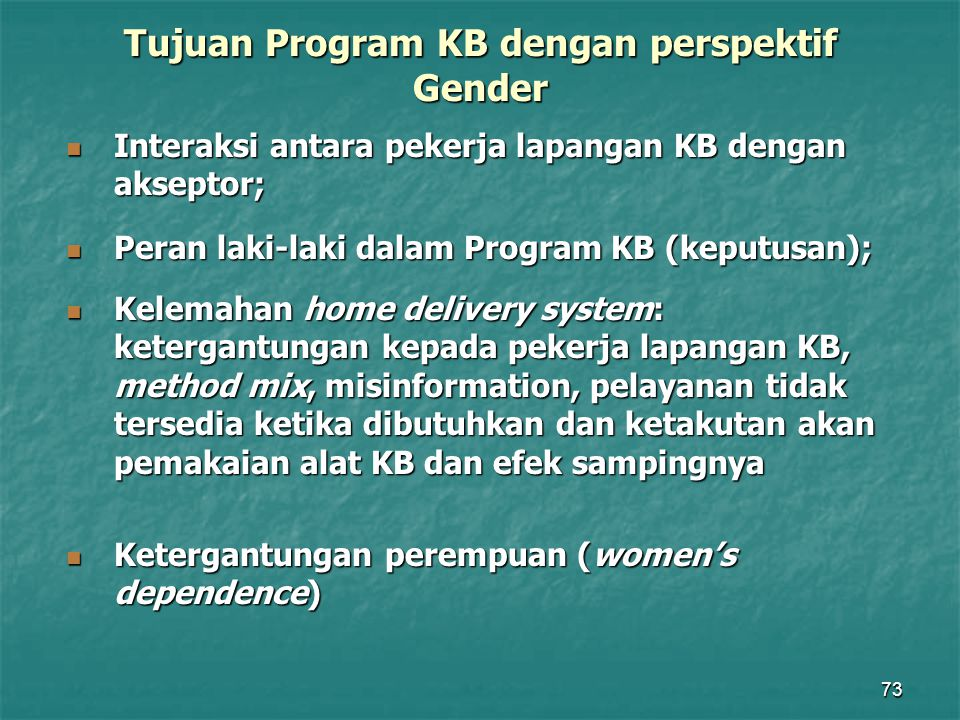 Tujuan Program KB dengan perspektif Gender