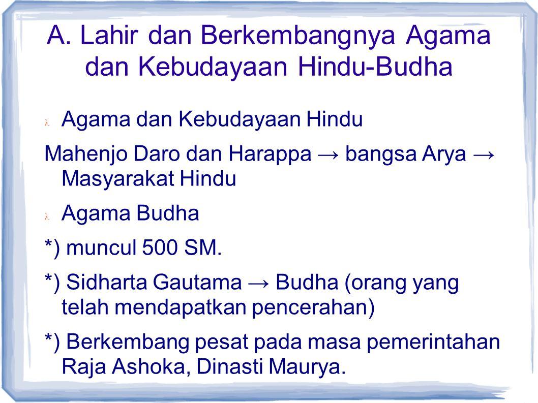A. Lahir dan Berkembangnya Agama dan Kebudayaan Hindu-Budha