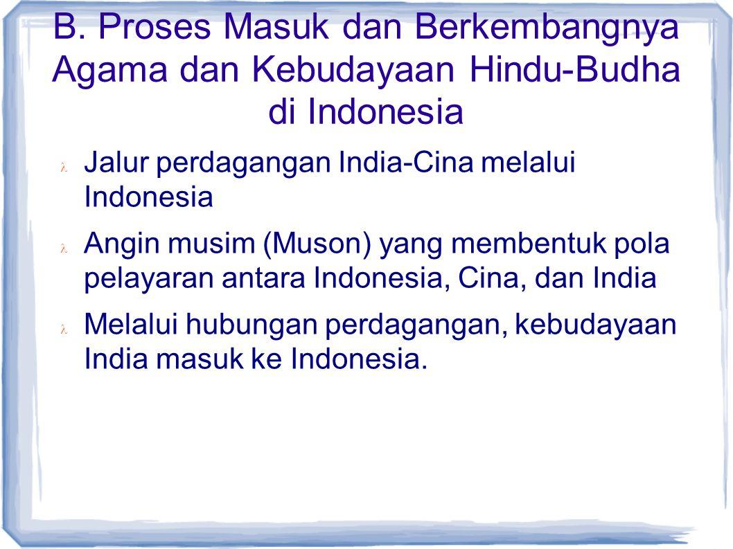 B. Proses Masuk dan Berkembangnya Agama dan Kebudayaan Hindu-Budha di Indonesia