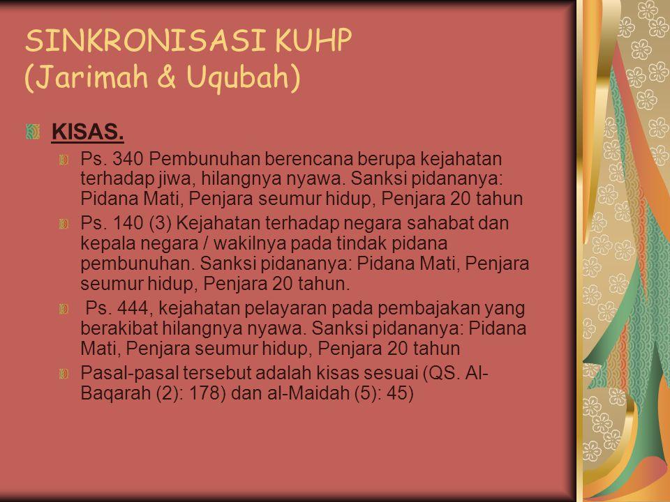 SINKRONISASI KUHP (Jarimah & Uqubah)