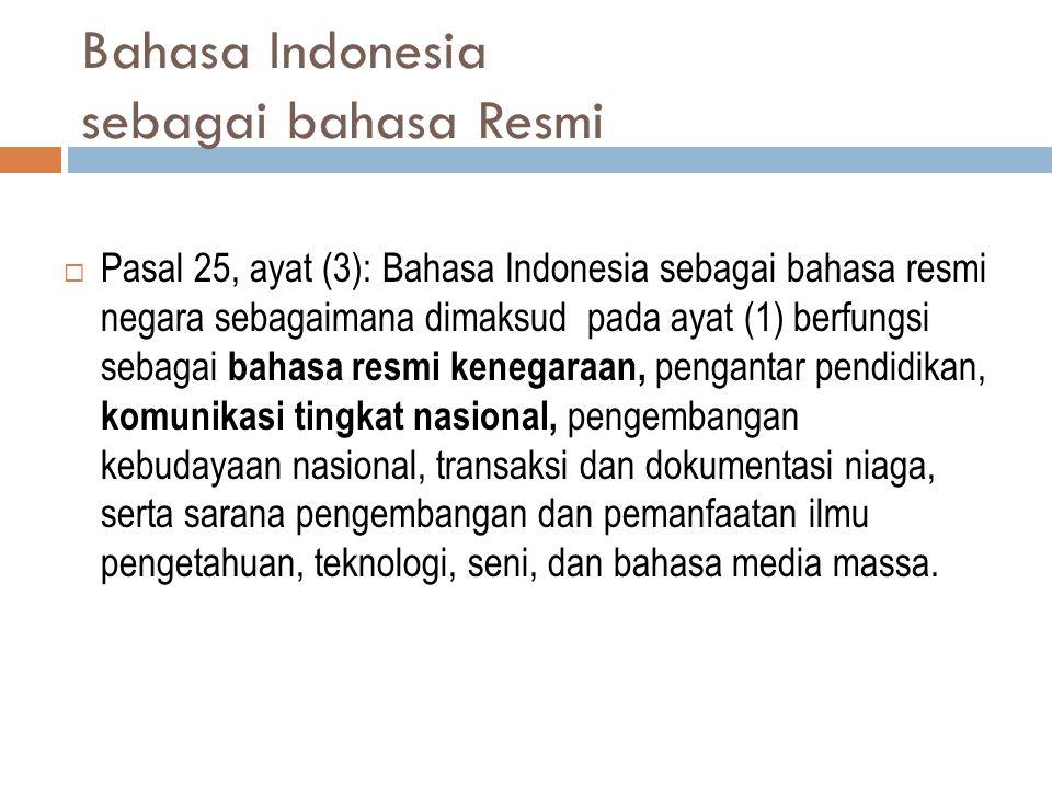 Bahasa Indonesia sebagai bahasa Resmi