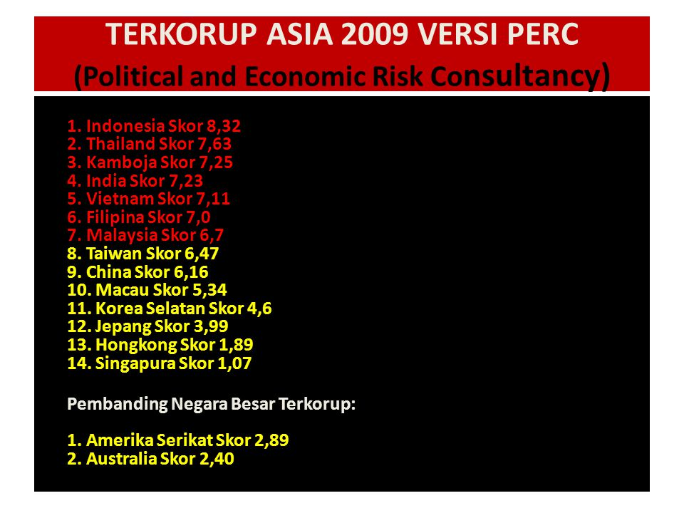TERKORUP ASIA 2009 VERSI PERC (Political and Economic Risk Consultancy)