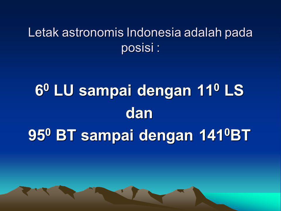 Letak astronomis Indonesia adalah pada posisi :