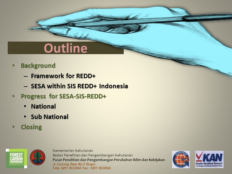 Outline Background Framework for REDD+ SESA within SIS REDD+ Indonesia