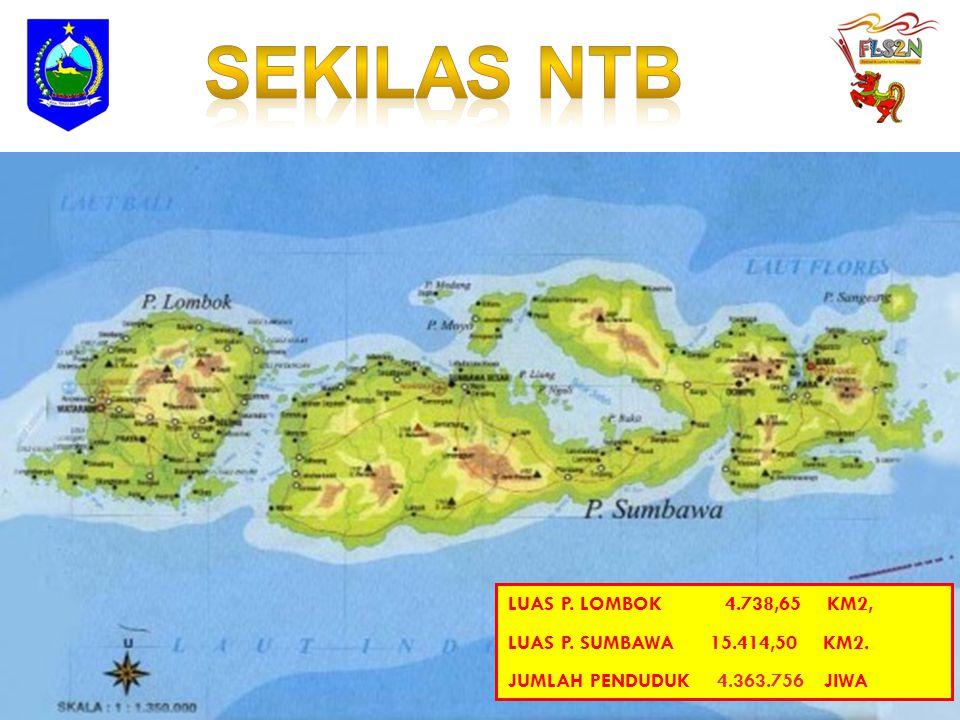 SEKILAS NTB LUAS P. LOMBOK 4.738,65 KM2,