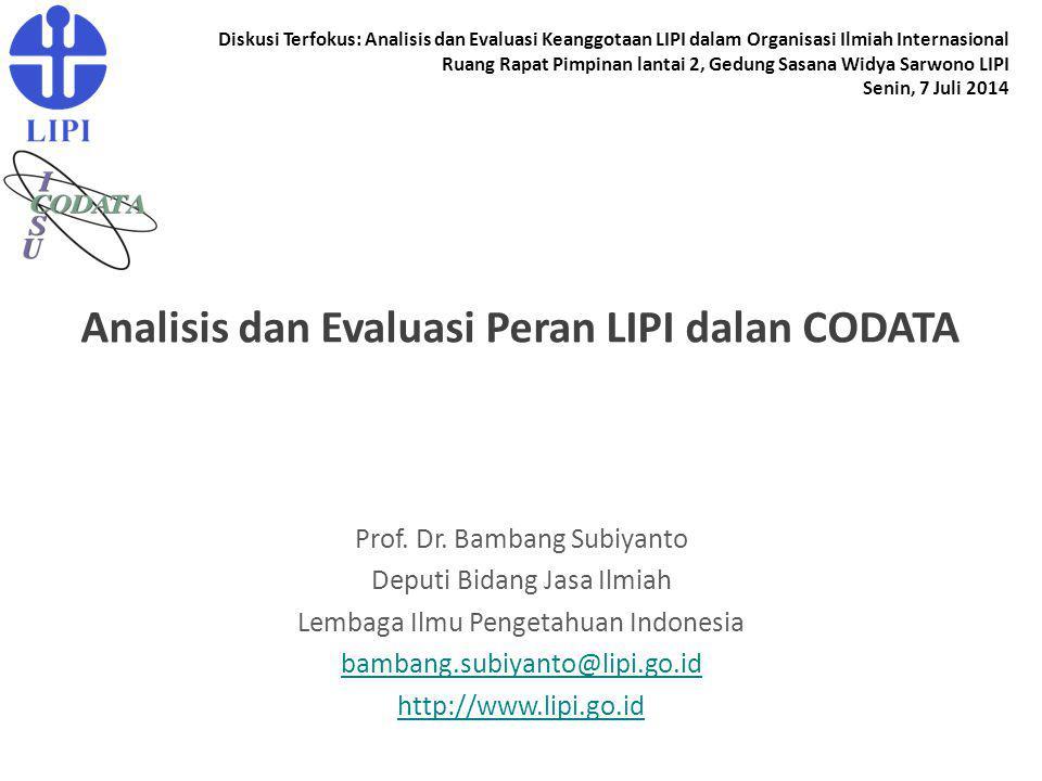 Analisis dan Evaluasi Peran LIPI dalan CODATA