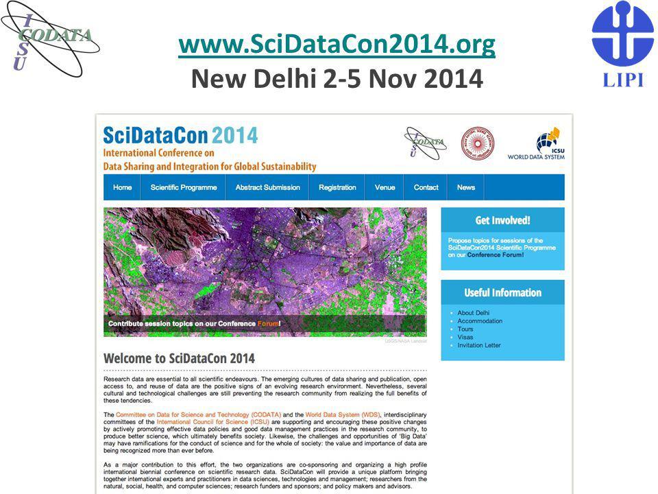 www.SciDataCon2014.org New Delhi 2-5 Nov 2014