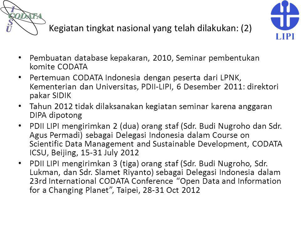 Kegiatan tingkat nasional yang telah dilakukan: (2)