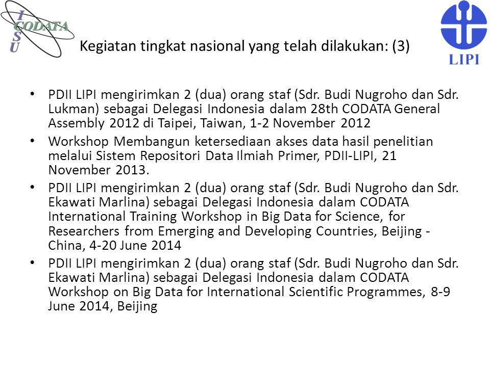 Kegiatan tingkat nasional yang telah dilakukan: (3)
