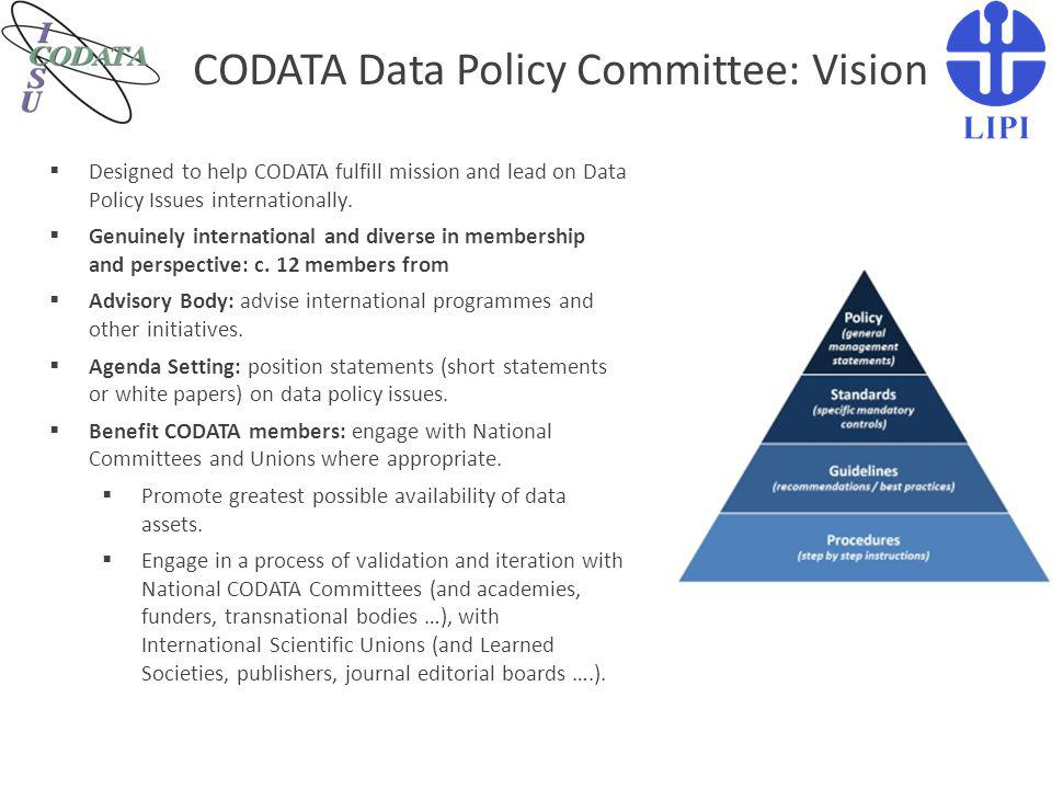 CODATA Data Policy Committee: Vision