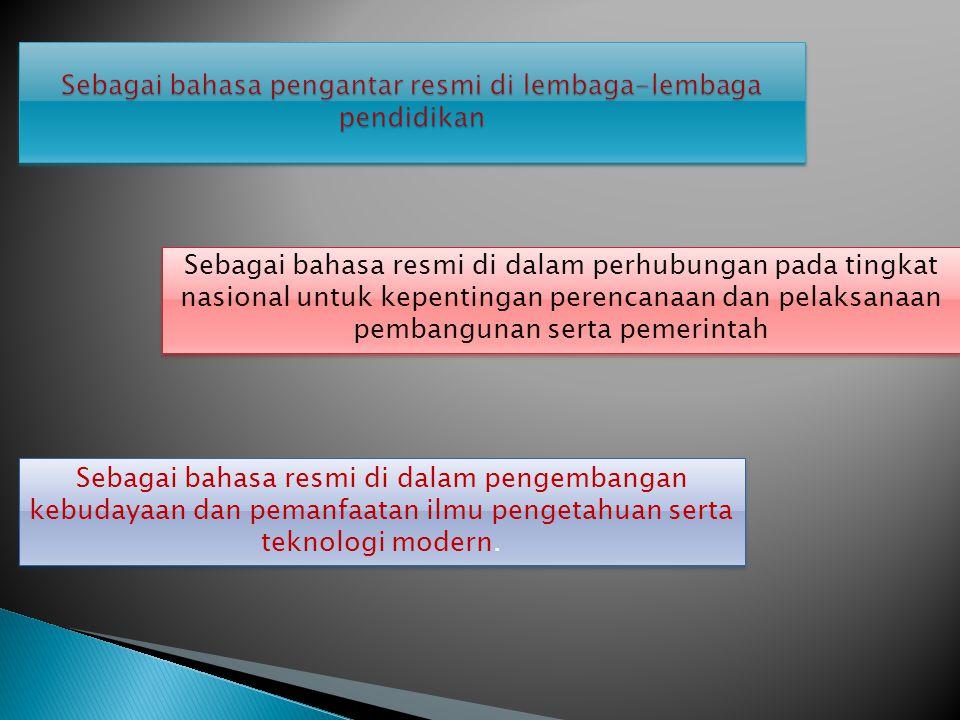 Sebagai bahasa pengantar resmi di lembaga-lembaga pendidikan