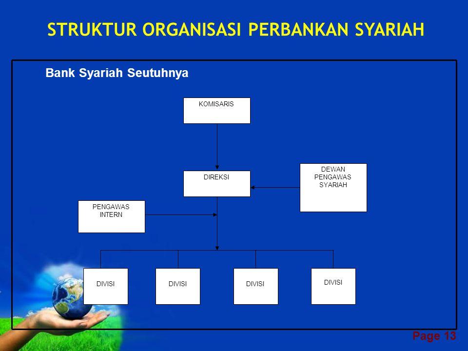 STRUKTUR ORGANISASI PERBANKAN SYARIAH Bank Syariah Seutuhnya