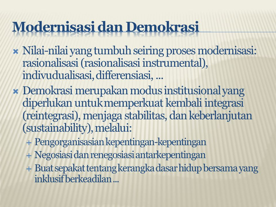 Modernisasi dan Demokrasi