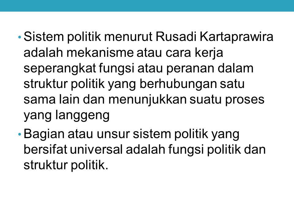 Sistem politik menurut Rusadi Kartaprawira adalah mekanisme atau cara kerja seperangkat fungsi atau peranan dalam struktur politik yang berhubungan satu sama lain dan menunjukkan suatu proses yang langgeng