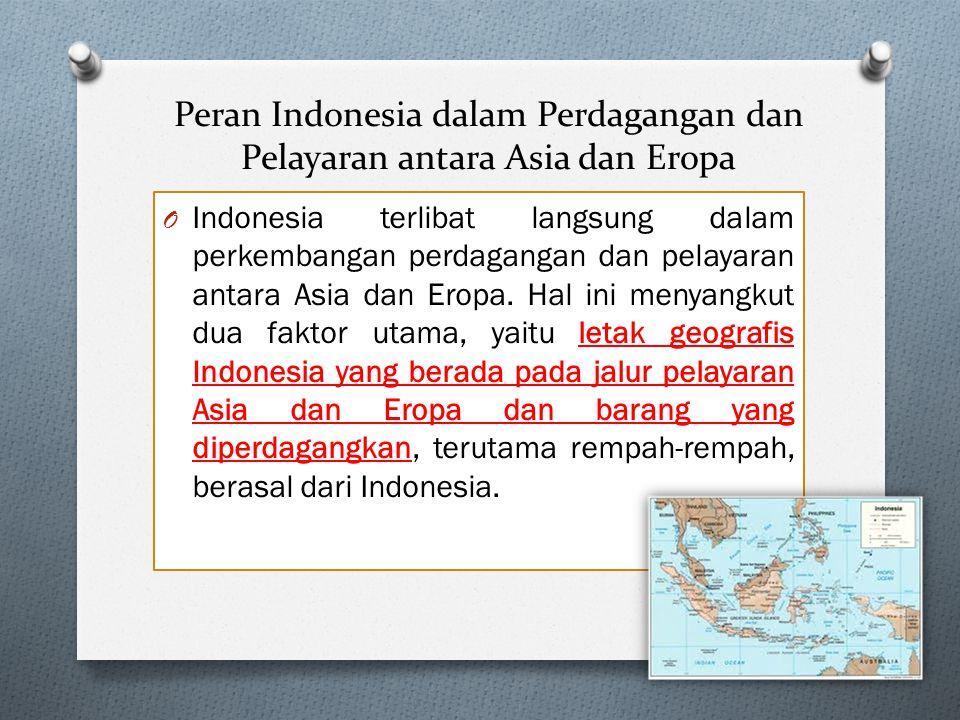 Peran Indonesia dalam Perdagangan dan Pelayaran antara Asia dan Eropa