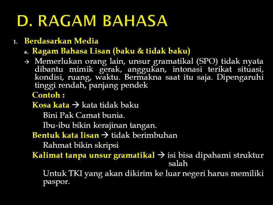 D. RAGAM BAHASA Berdasarkan Media