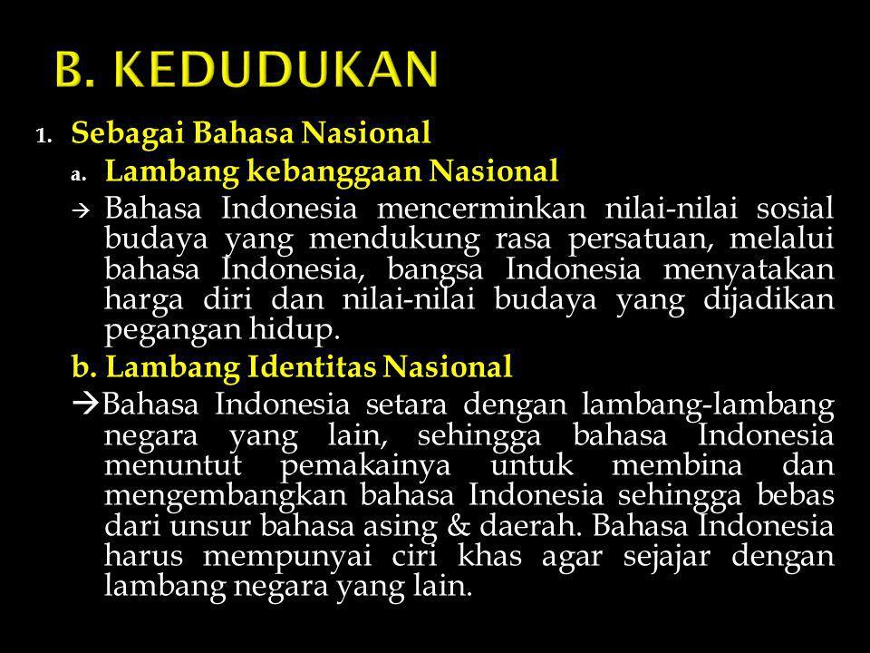 B. KEDUDUKAN Sebagai Bahasa Nasional Lambang kebanggaan Nasional