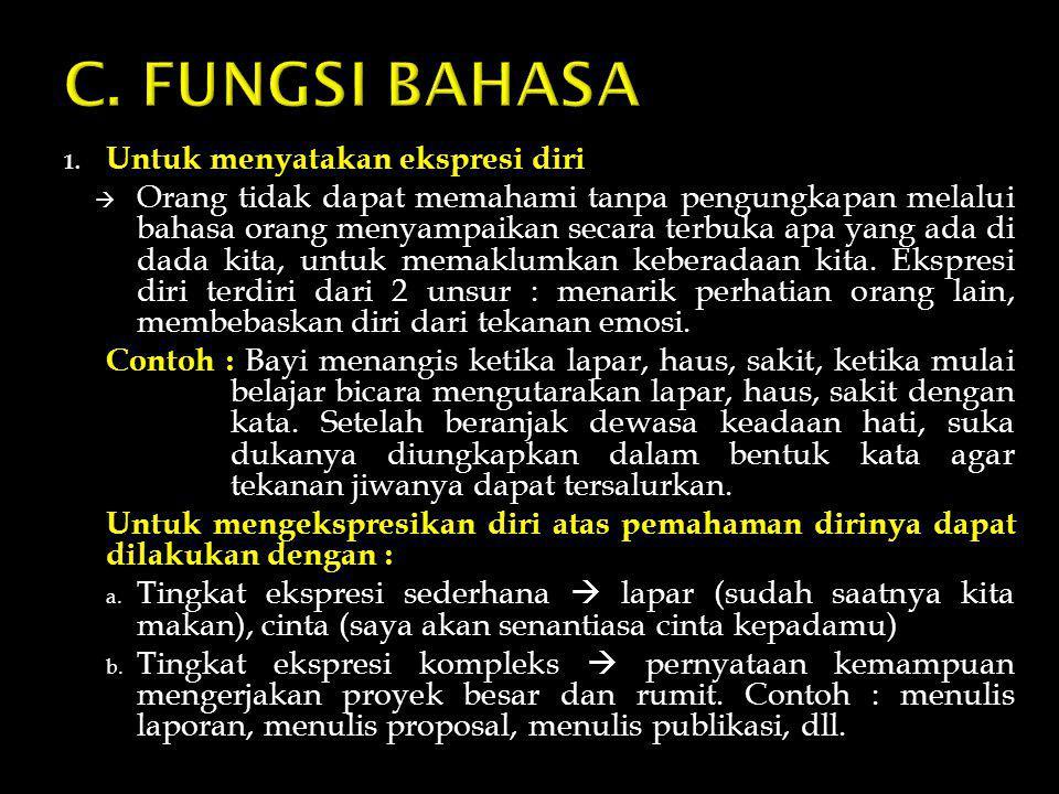 C. FUNGSI BAHASA Untuk menyatakan ekspresi diri