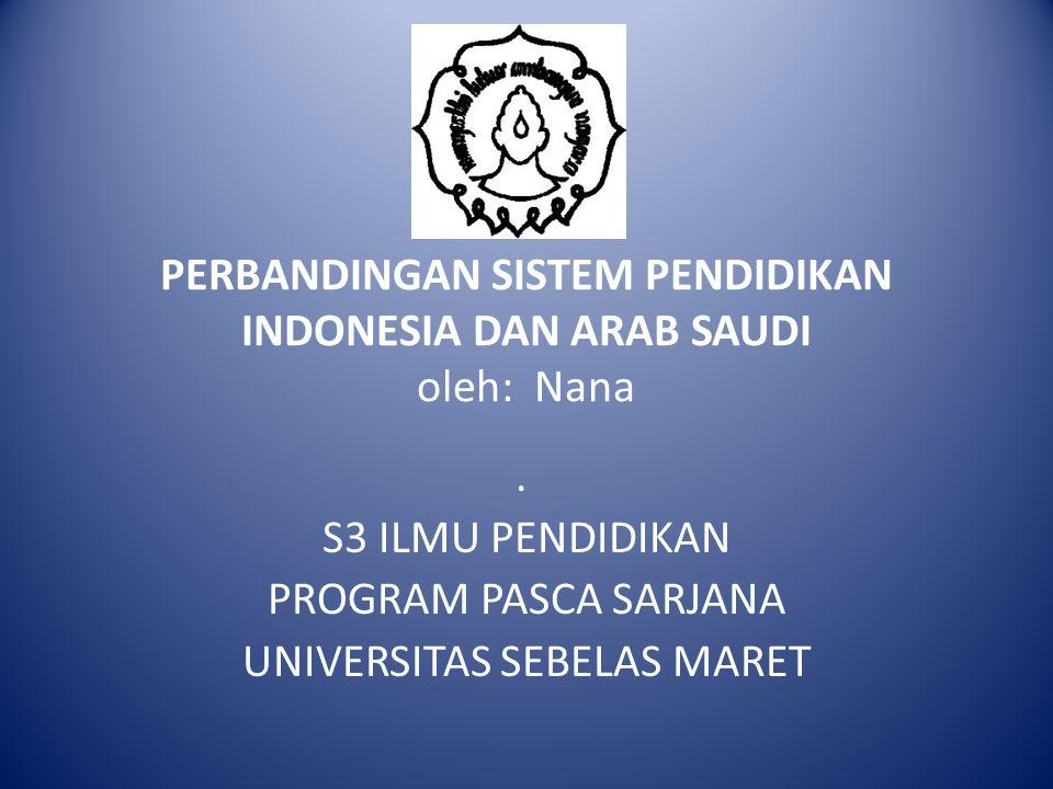 PERBANDINGAN SISTEM PENDIDIKAN INDONESIA DAN ARAB SAUDI oleh: Nana