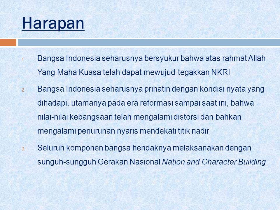 Harapan Bangsa Indonesia seharusnya bersyukur bahwa atas rahmat Allah Yang Maha Kuasa telah dapat mewujud-tegakkan NKRI.