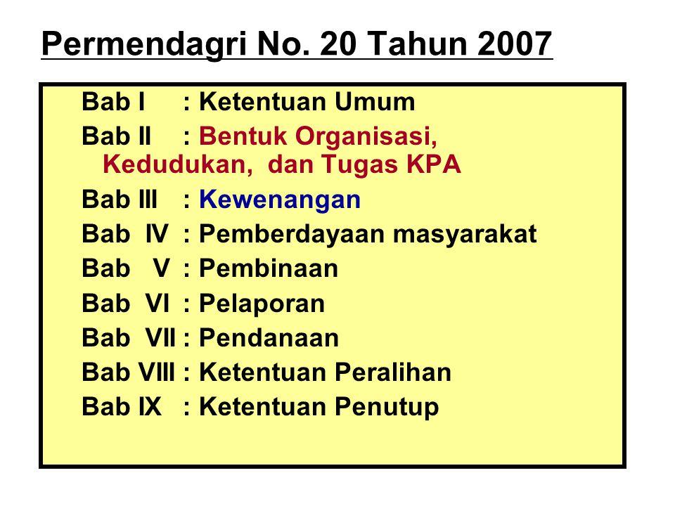 Permendagri No. 20 Tahun 2007 Bab I : Ketentuan Umum
