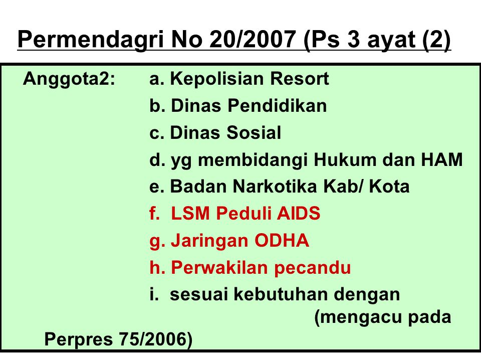Permendagri No 20/2007 (Ps 3 ayat (2)