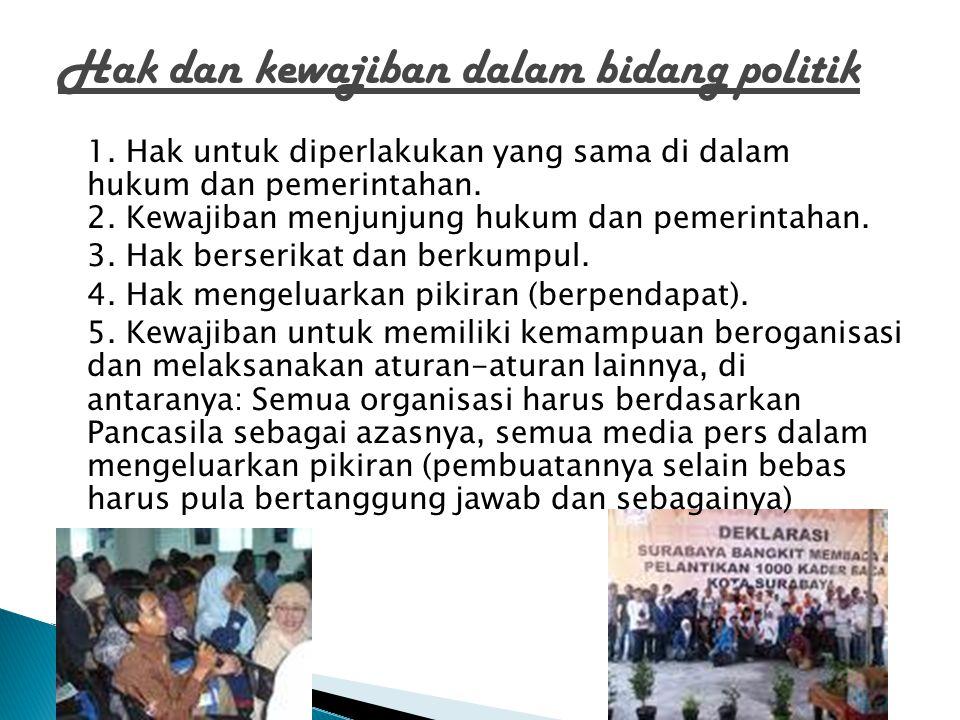 Hak dan kewajiban dalam bidang politik