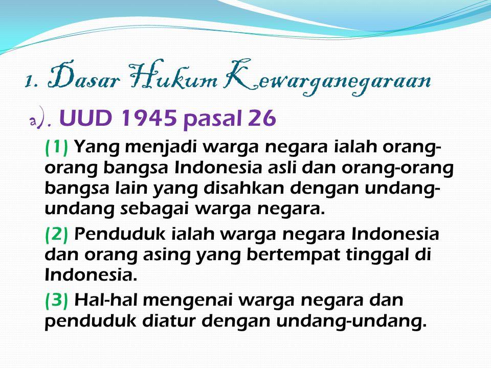 1. Dasar Hukum Kewarganegaraan