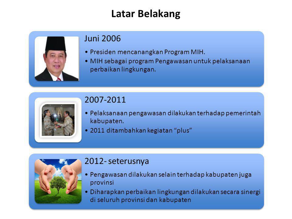 Latar Belakang Juni 2006. Presiden mencanangkan Program MIH. MIH sebagai program Pengawasan untuk pelaksanaan perbaikan lingkungan.