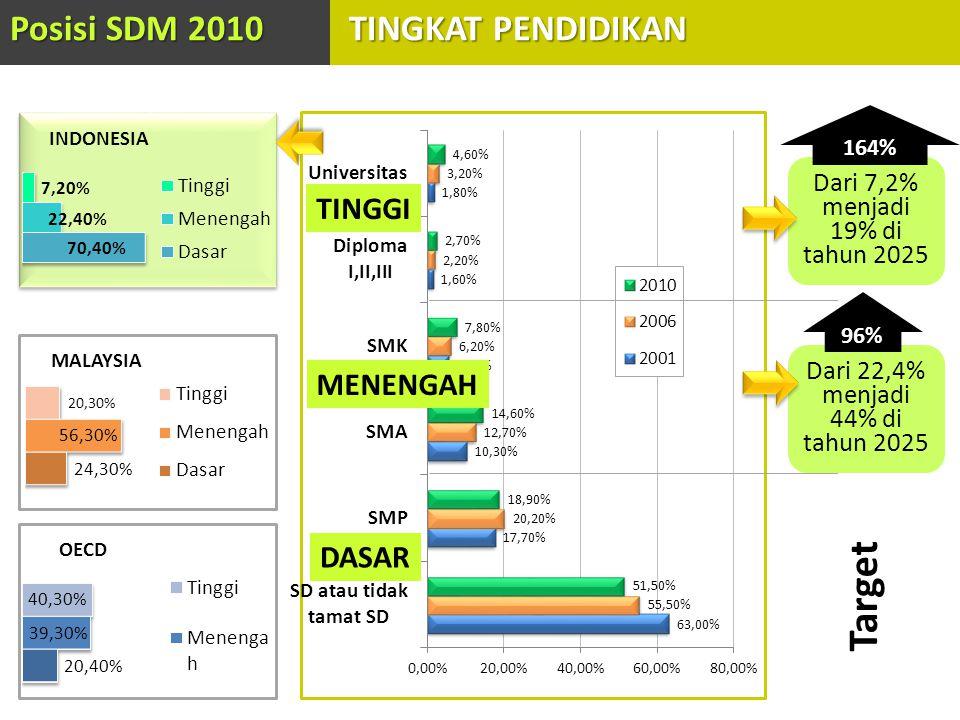 Target Posisi SDM 2010 TINGKAT PENDIDIKAN TINGGI MENENGAH DASAR