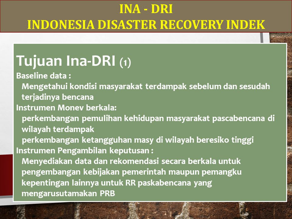 INDONESIA DISASTER RECOVERY INDEK