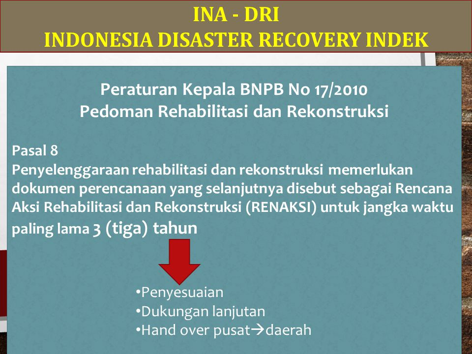 INDONESIA DISASTER RECOVERY INDEK Peraturan Kepala BNPB No 17/2010
