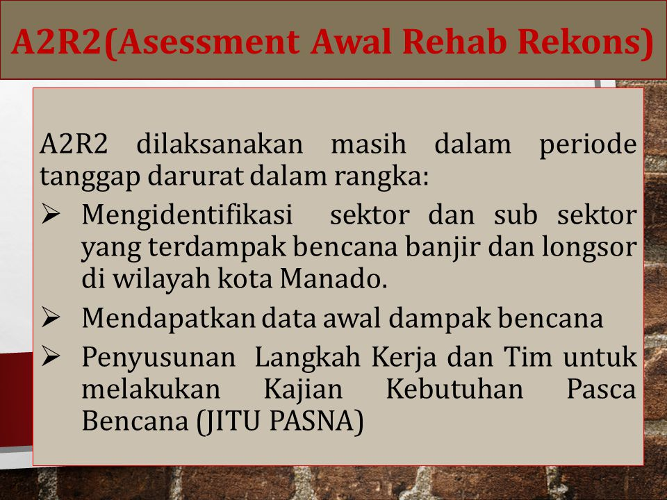A2R2(Asessment Awal Rehab Rekons)