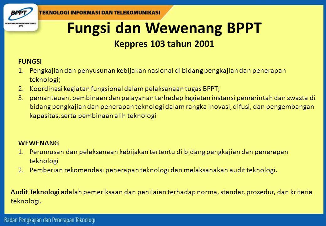 Fungsi dan Wewenang BPPT Keppres 103 tahun 2001
