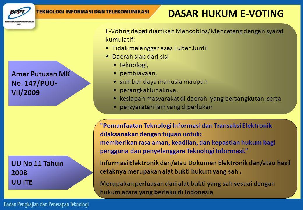 DASAR HUKUM E-VOTING Amar Putusan MK No. 147/PUU-VII/2009
