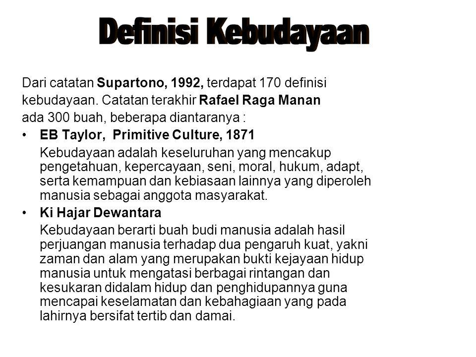 Definisi Kebudayaan Dari catatan Supartono, 1992, terdapat 170 definisi. kebudayaan. Catatan terakhir Rafael Raga Manan.