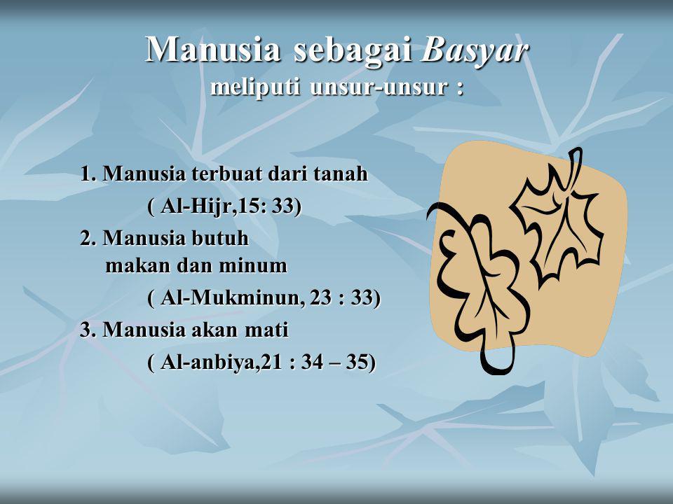 Manusia sebagai Basyar meliputi unsur-unsur :