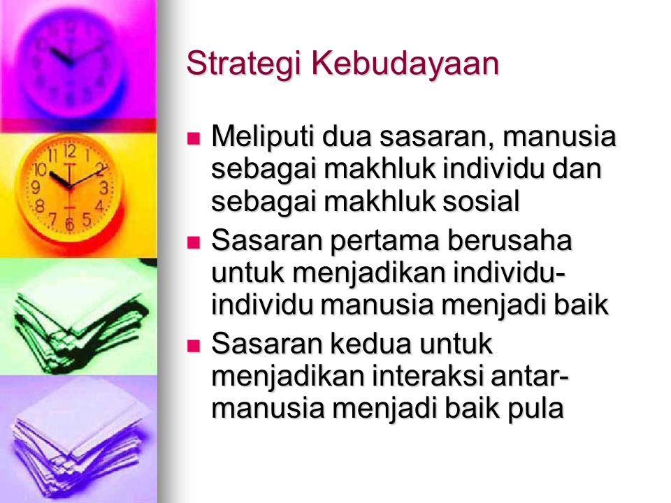 Strategi Kebudayaan Meliputi dua sasaran, manusia sebagai makhluk individu dan sebagai makhluk sosial.